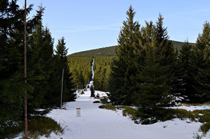 Przełęcz Sowiea, a Śnieżka schowana za Czarną Kopą