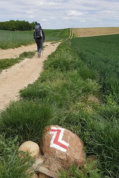 Oznakowanie szlaku GSS przed Łąką